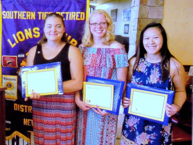 The Southern Tier Retired Lions Club recently installed officers for its Elmira College branch club. From left are Emily Ann La Clare, president; Ashley Johnson, vice president and treasurer; and Chanel Sisouphanh, senator and membership chair.