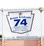 This tribute to the late Bruce Erickson, who is Edison head coach Kyle Erickson's dad, hangs at Northrop Field.