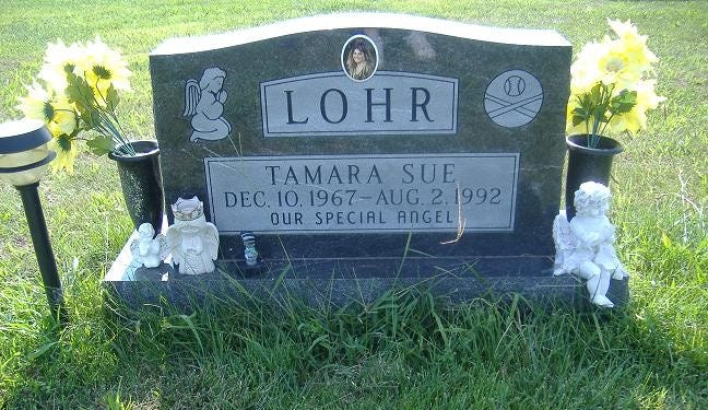Tamara Lohr's grave. She is buried at Plainview Memorial Cemetery outside Boonville.