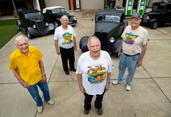 With the 44th Annual Frog Follies to kick off Friday, Aug. 24, charter members of the E'ville Iron Street Rod Club (started in 1974) are pleased to know the event they started has continued to draw in thousands of visitors and participants each year to the Vanderburgh County 4-H Center. The car enthusiasts are, from left, Tim Hamilton, Rick Bonenberger, Bob Bonenberger and Steve Meyerholtz.