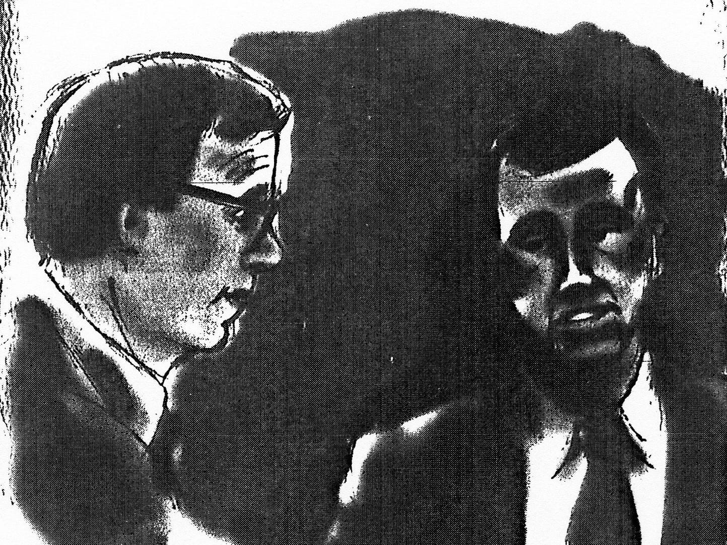 A courtroom sketch shows defense attorney Terry Noffsinger and defendant Patrick Bradford during Bradford's 1993 murder trial. Bradford was convicted of killing girlfriend Tammy Lohr and setting her body on fire.