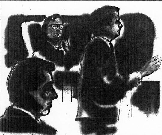 A courtroom sketch shows defendant Patrick Bradford (bottom left), Judge Richard Young (center) and prosecutor Stan Levco during Bradford's 1993 trial. He was convicted of killing girlfriend Tammy Lohr and setting her body on fire.