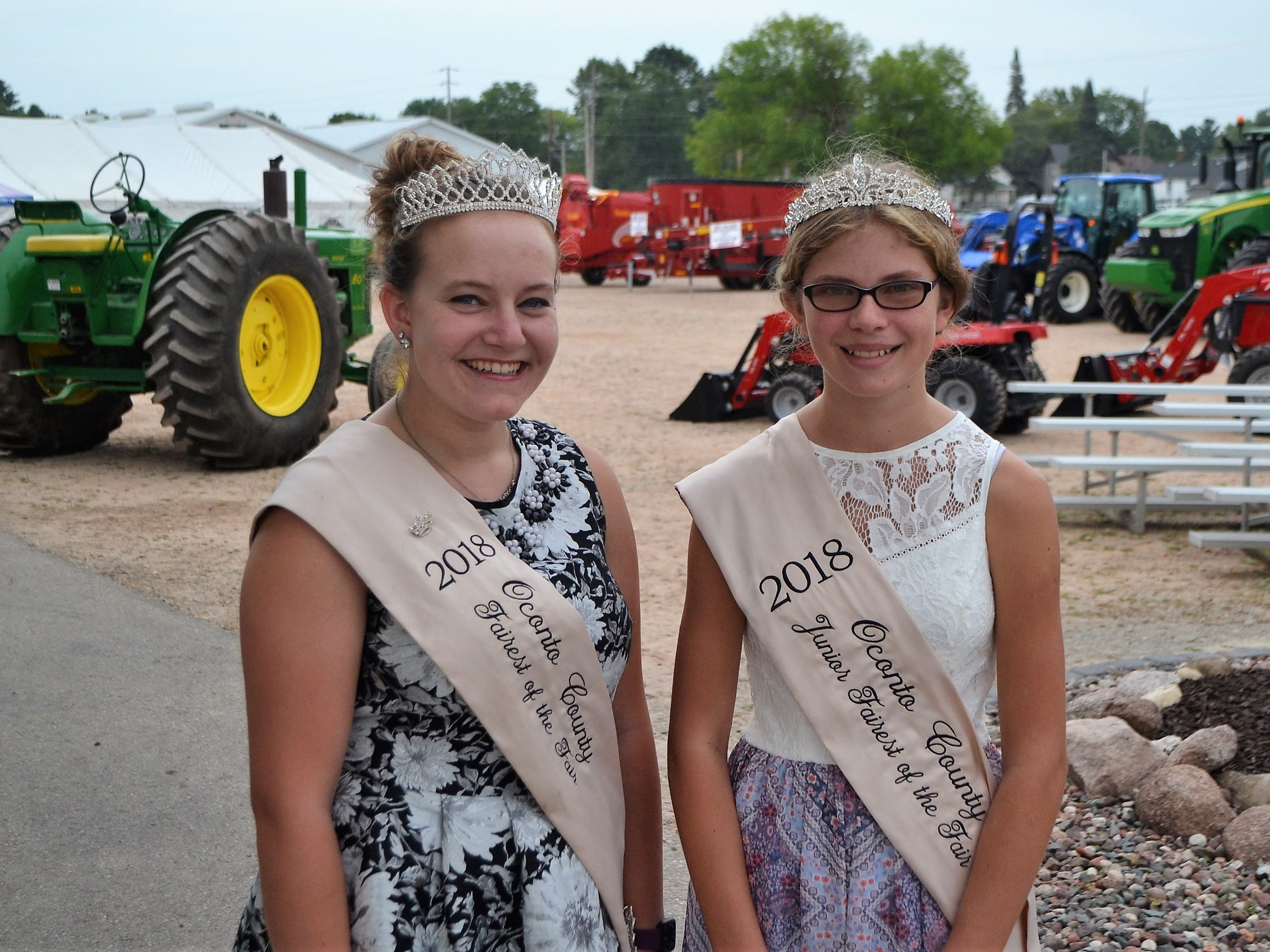 Danielle Paschke of Pulaski and Delaney  Debauche, the Fairest and Junior Fairest of the Fair this year, are  seen after the opening ceremony of the Oconto County Fair on Thursday, Aug. 16.