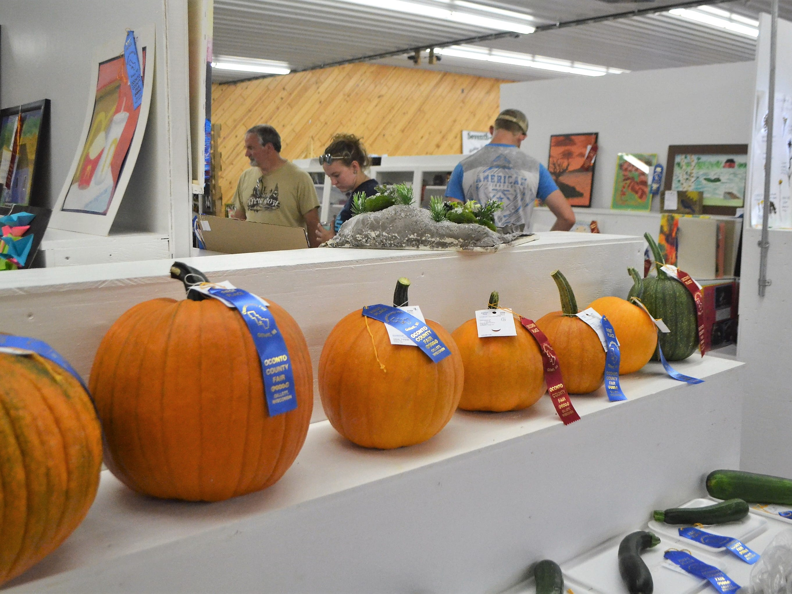 Pumpkins and other Open and Junior Class projects are on display in the Exhibition Building at the Oconto Fair.