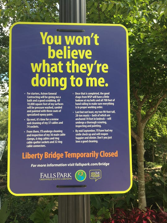 The Liberty Bridge in Falls Park is closed for maintenance until mid-September.