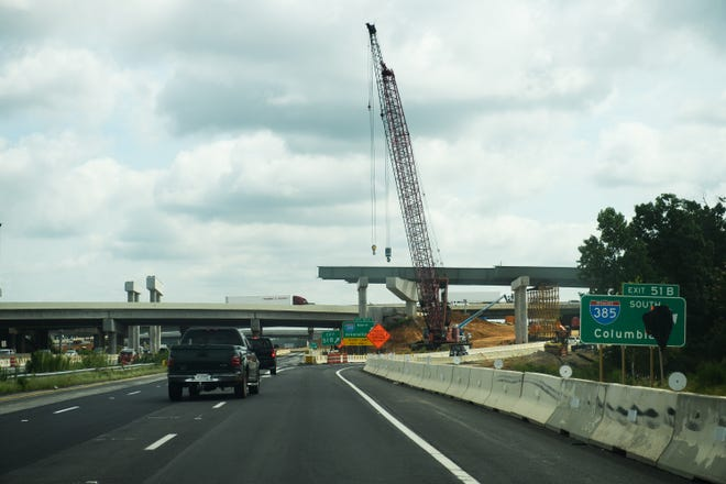 Construction continues on the InterstateÊ85-385 interchange on Friday, Aug. 17, 2018.