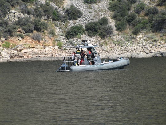 Recovery crews use NPS Submerged Sonar to search for two men missing and presumed drowned in Bighorn Canyon.
