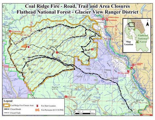 Map of the Coal Ridge Fire closures west of Polebridge.