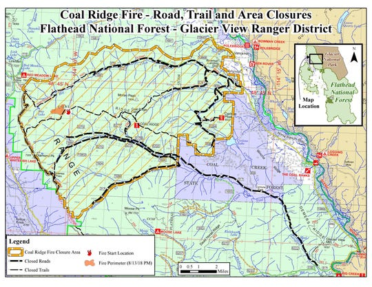 Map of the Coal Ridge Fire closures west of Polebridge.