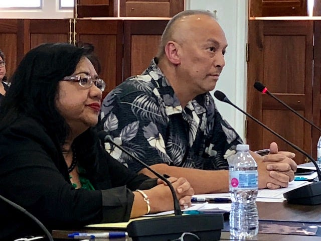 Department of Revenue and Taxation Director John Camacho and Deputy Director Marine Benito answer questions from senators during Friday's oversight hearing on the department, its tax collection, enforcement and compliance.