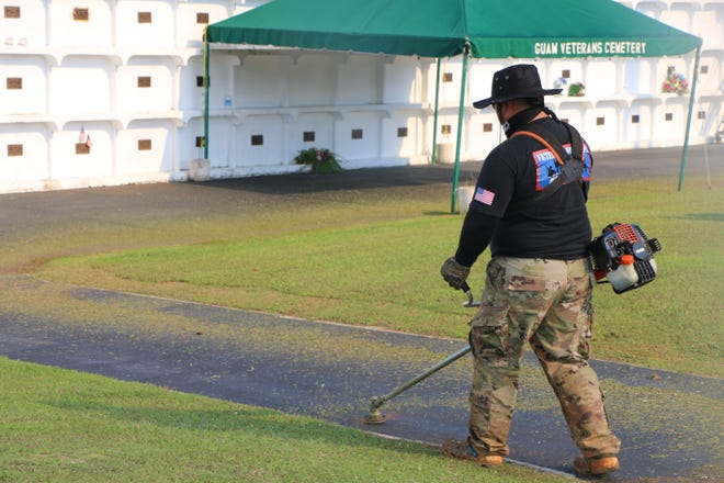 More than 100 volunteers from various Veterans Associations on Guam, and their families came out in full force on Aug. 11 to assist with improvements to the grounds of the Guam Veterans Cemetery in Piti.