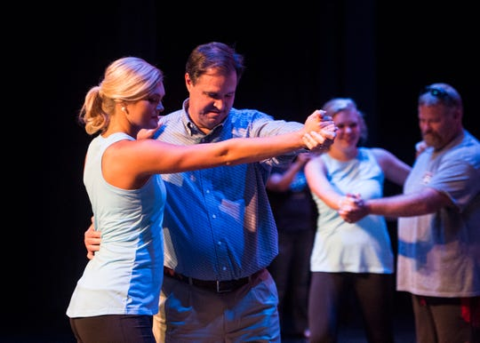 Hannah Watkins dances the Waltz with father Scott Watkins during the Distinguished Young Women dress rehearsal at the at Preston Fine Arts Center Thursday, August 16, 2018.