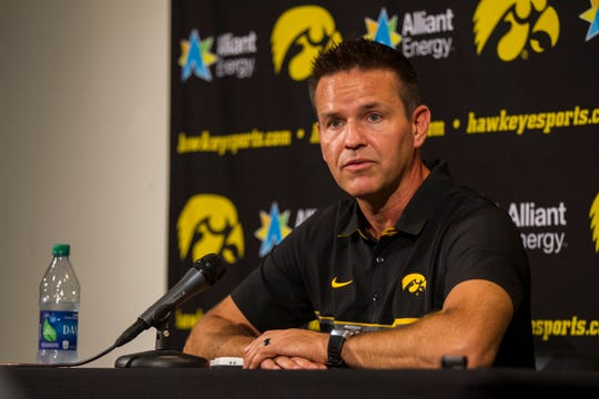Iowa volleyball head coach Bond Shymansky speaks to reporters during Iowa volleyball media day on Friday, Aug. 17, 2018, at Carver-Hawkeye Arena in Iowa City.