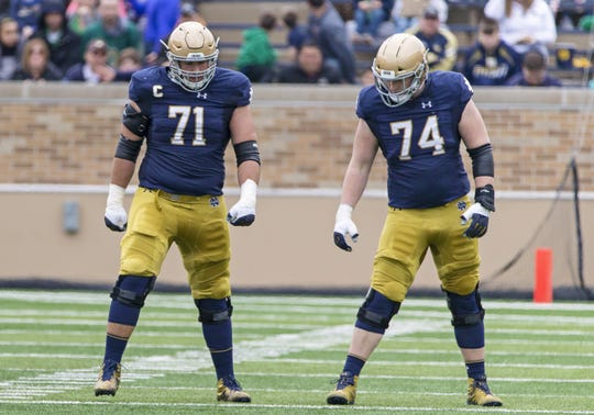 Notre Dame offensive lineman Liam Eichenberg (74) has big shoes to fill.