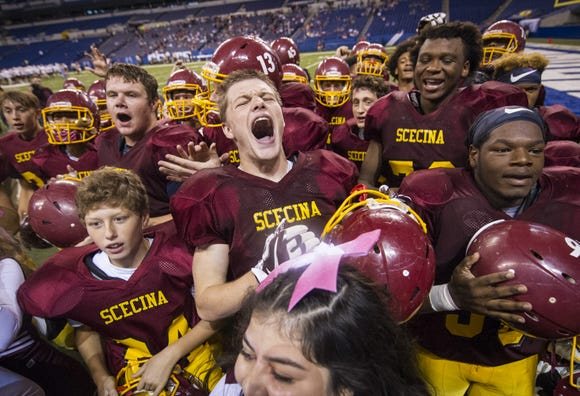 Welcome to another season of Indiana high school football. Last year, Scecina players serenaded fans with the school song after a victory at Lucas Oil Stadium, some more exuberantly than others.