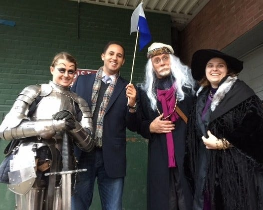 Earlier year's Wizarding Weekend participants, from left to right, Becca Cooper, Ithaca Mayor Svante Myrick, John Hertzler, and Darlynne Overbaugh in costume.