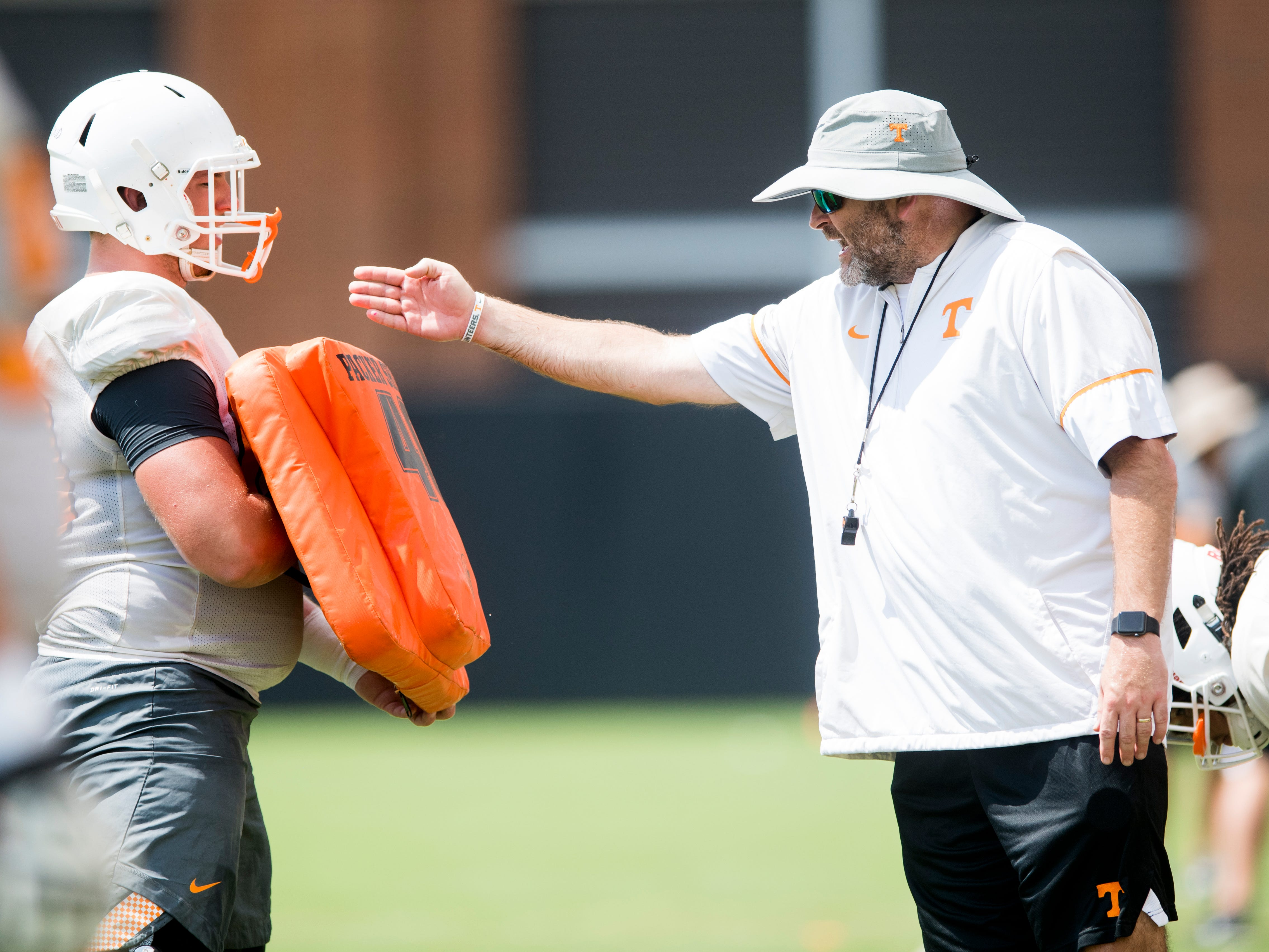 Tennessee offensive lineman coach Will Friend during afternoon football practice on the University of Tennessee's campus on Friday, August 17, 2018.