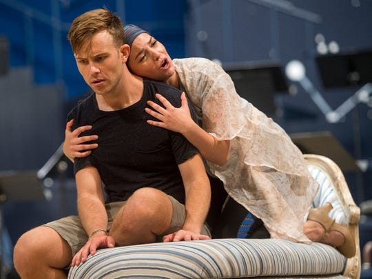 """Actors rehearse scenes from Leonard Bernstein's """"Candide"""" at the Clarence Brown Theatre on the University of Tennessee's campus on Aug. 16. The play will run Aug. 29 through Sept. 16."""