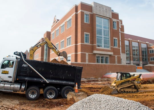 Work continues at the student union building on the University of Tennessee's campus on Friday, August 17, 2018.
