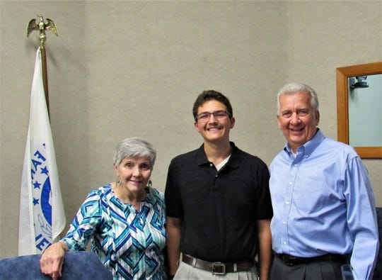 New planning commission youth representative Nick LiMandri was welcomed to his first meeting by Commissioner Rose Ann Kile and Mayor Ron Pinchok.