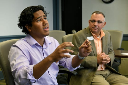 "Ovi Kabir, student government president, and Vincent Carilli, vice chancellor for student life, address a report from a task force on alcohol policy at the University of Tennessee campus on Aug. 17, 2018. Kabir will compete on the upcoming season of the reality show ""Big Brother."""
