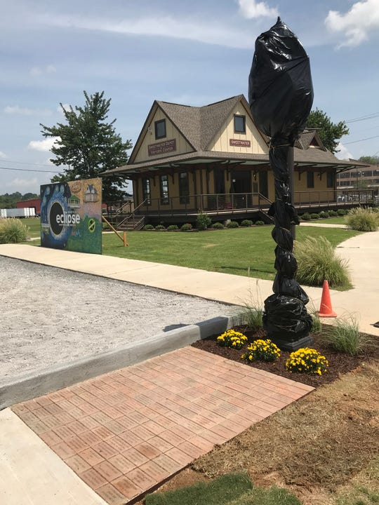 Sweetwater, Tennessee, bought a downtown clock with some of its 2017 eclipse profits. It will be unveiled at 10 a.m. on the Aug. 21 anniversary of the  eclipse. The clock stands in front of the city's new visitor center, by a pavement of donor's bricks.