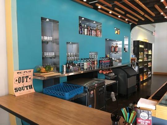 The bar area of PostModern Spirits tasting room, located at 205 W. Jackson Avenue