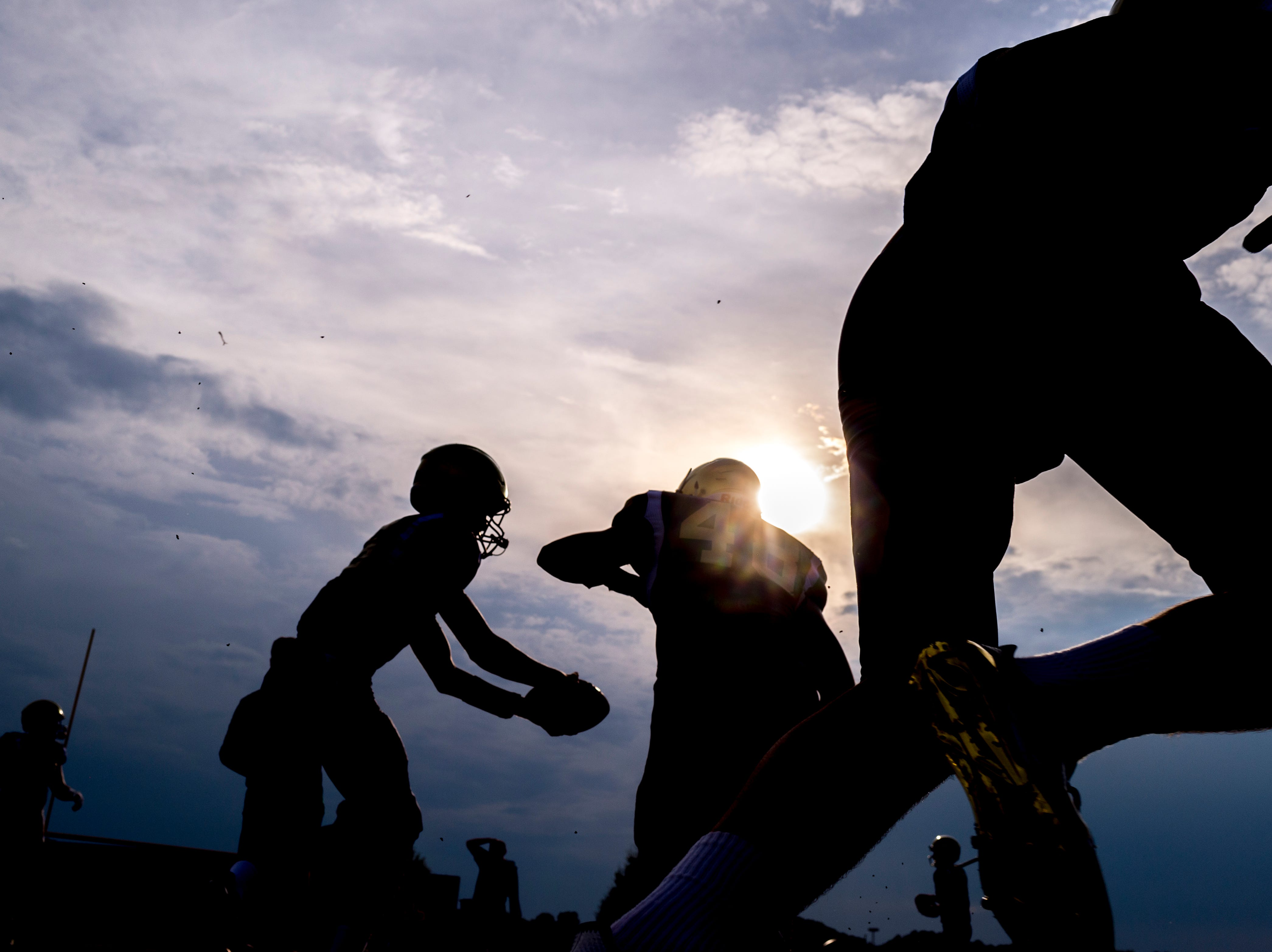 Catholic players drill during a football game between Maryville and Catholic at Catholic High School in Knoxville, Tennessee on Friday, August 17, 2018.