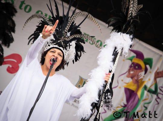 Singer Connie G entertains the crowd at the 2018 Festival de Mardi Gras a Lafayette at Cajun Field.