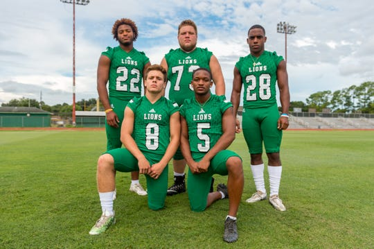 Lafayette High offensive standouts include- Brelynn Lee (22), Brennon Broussard (8), James Walker (73), Canaan Leon (5) and Corren Norman (28).