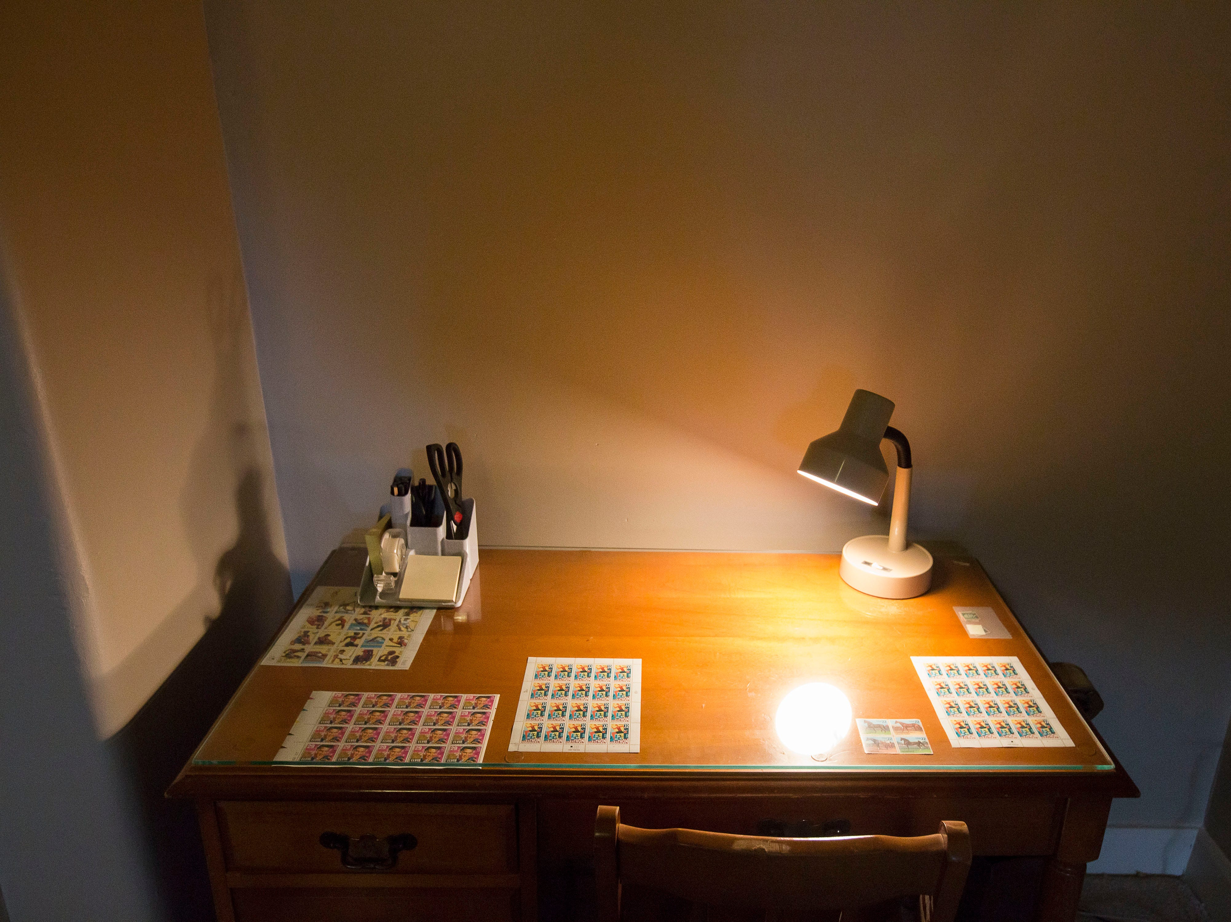 Desk in the third floor apartment at historic Cherokee Triangle home in Louisville, KY.