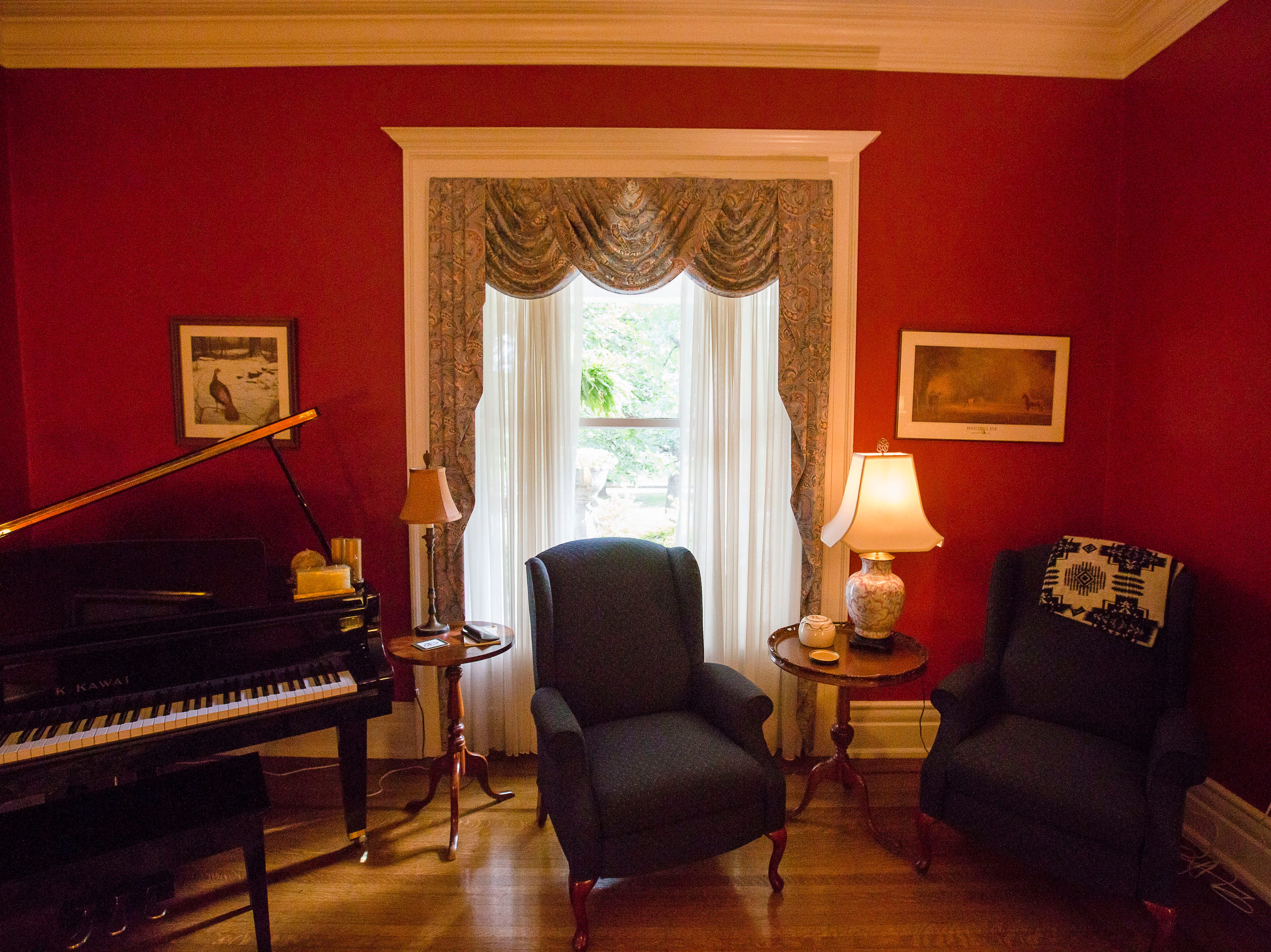 Front sitting room at historic Cherokee Triangle home in Louisville, KY.