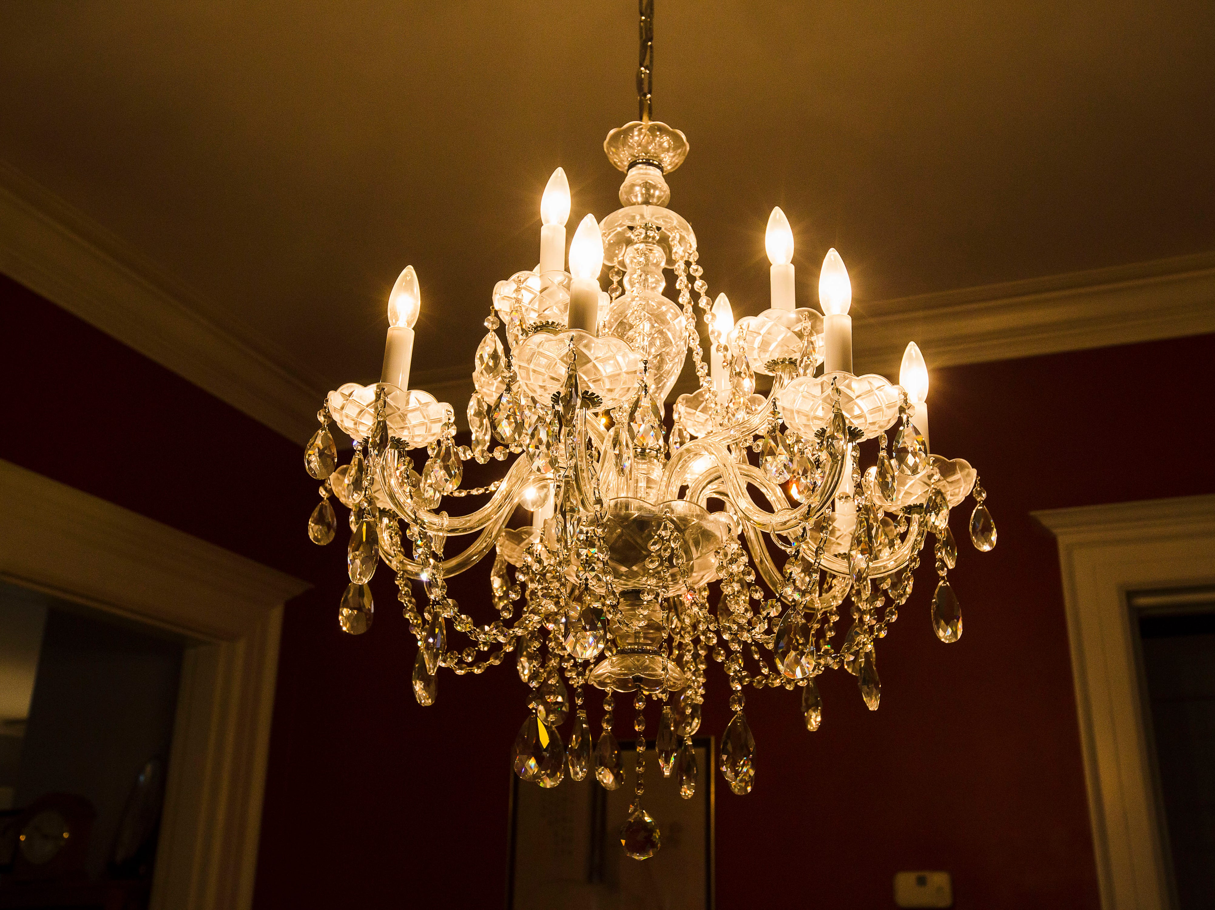 Dining room chandelier of historic Cherokee Triangle home  in Louisville, KY.