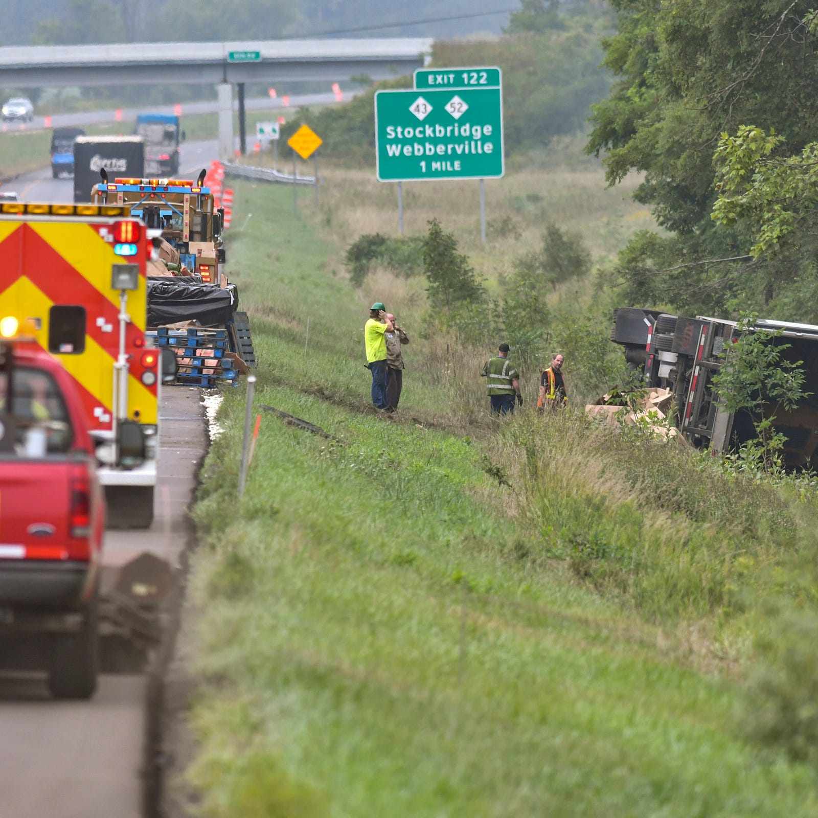 2 semis, 1 hauling watermelons, crash on Interstate 96 in Leroy Township; 1 injured