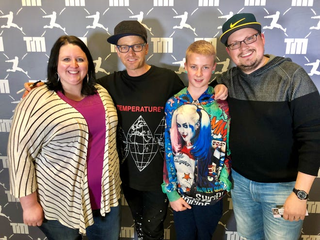 Big Brothers Big Sisters of Manitowoc County's Match of the Month: Big Brother Terry Stevenson, far right, and Little Brother Joe Whatley, second from left, backstage with Christian hip hop artist TobyMac, second from left.