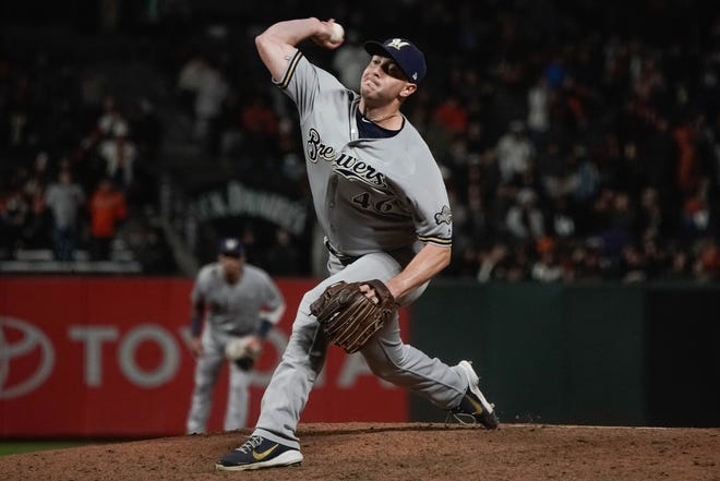 Brewers relief pitcher Corey Knebel has struggled recently this season.