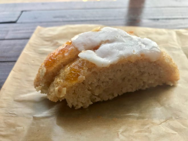 Mor Bakery & Cafe carries a rotating selection of gluten-free items, such as coconut cake slices with mango-orange topping.