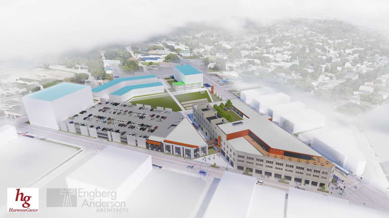 Developer Kalan Haywood Sr.'s early plans for the Ikon hotel on the site of a former Sears store called for apartments and offices on land next door.