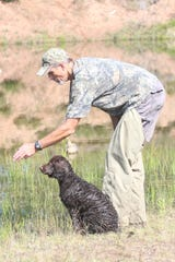 Eric Wahlstrom of Lake Elmo, Minn. prepares to send Belle, his American water spaniel, on a retrieve at the 2018 American Water Spaniel Club Specialty and Hunt Test in Gordon, Wis.