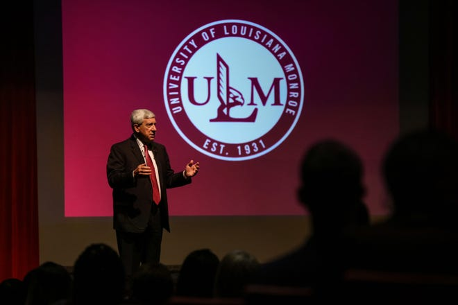 University of Louisiana Monroe President Nick J. Bruno presents his eighth annual State of the University address at 8:30 a.m. on Aug. 16, 2018, in Brown Auditorium. At the conclusion of the address, the Foundation Awards for Excellence were awarded.