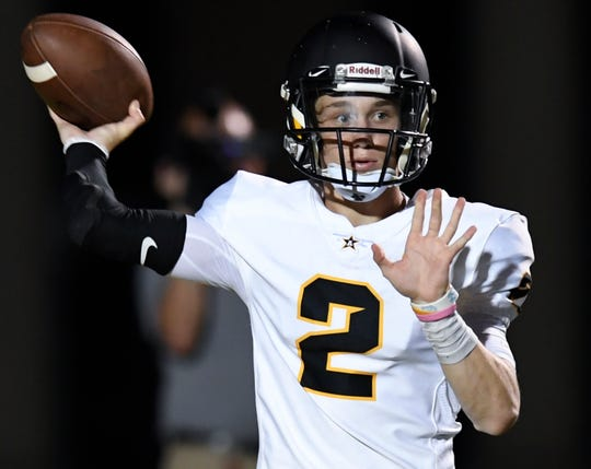 Autauga Academy's  Tripp Carr throws against Bessemer Academy during their game at Birmingham Southern College in Birmingham, Ala. on Thursday August 16, 2018.