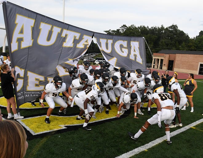 Autauga Academy takes the field against Bessemer Academy during their game at Birmingham Southern College in Birmingham, Ala. on Thursday August 16, 2018.
