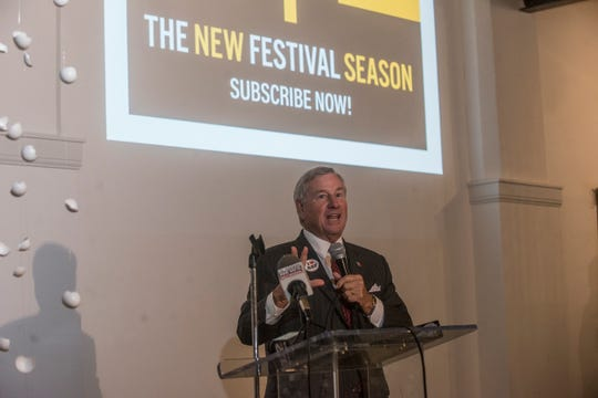 Montgomery mayor Todd Strange called Alabama Shakespeare Festival a treasure in Montgomery. ASF announced its upcoming season of 14 shows at the Kress Building in downtown Montgomery on Thursday, Aug. 16, 2018.
