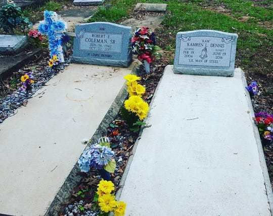 A picture on Kamisha Coleman's Facebook page shows her son's grave next to his grandfather's, who died just eight months apart.