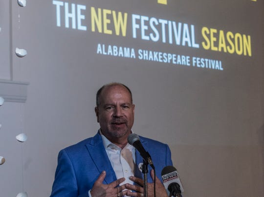 Todd Schmidt, executive director at Alabama Shakespeare Festival, talks about ticket subscription options for the upcoming theater season. ASF announced its upcoming season of 14 shows at the Kress Building in downtown Montgomery on Thursday, Aug. 16, 2018.