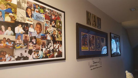 A wall in Kamisha Coleman's house honors her son, Kamren Dennis, who died June 19, 2016.