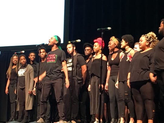 "Students from the Ethnic Theater Alliance perform ""Glory"" at the Ball State Fall Convocation on Friday."
