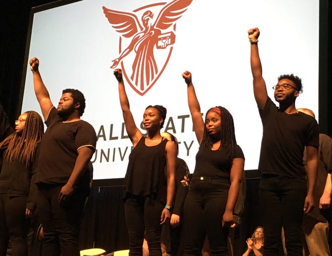 """Ball State students from the Ethnic Theater Alliance concluded their performance of """"Glory"""" at the end of Fall Convocation at Emens Auditorium on Friday."""
