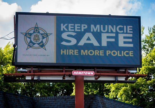 An advertisement paid for by the Fraternal Order of Police appeared on an electronic billboard on Wheeling Avenue in the summer of 2018, during contract negotiations.