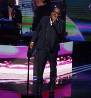 Bobby Brown becomes emotional as he accepts the R&B Soul Music Icon Award at the Black Music Honors at TPAC Thursday August 16, 2018.